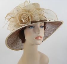 New Woman Church Derby Wedding Sinamay Ascot Dress Hat 3079 Beige/Brown