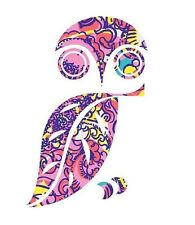 Owl in Lilly P Pink Design Printed Decal Window/Car/Truck/Sticker **NEW ITEM**