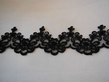 black Embroidered Floral lace trim / dress trimming sewing lace trim.Per Yard