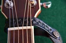 LEATHER ACOUSTIC OR ELECTRIC GUITAR HEADSTOCK STRAP TIE HOOK BUTTON UK