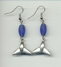 Pewter Whale Tail, Blue, Earrings, Save The Whales