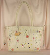Radley English Garden Whisper Cream Embroidered Leather Shoulder Bag Large Used