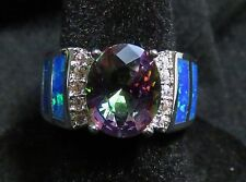 Sterling 925 SF Size 7 Ring Blue Lab Opal & 8*10mm Rainbow Topaz & White Topaz