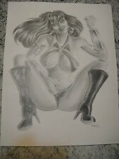 Vampirella Original Art Charcoal Drawing Sketch Signed by the Artist 9x11