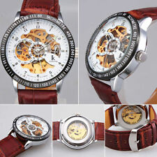 Men Luxury Leather Band See Through Skeleton Auto Mechanical Sport Wrist watch