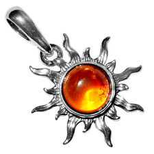 1.88g Authentic Baltic Amber 925 Sterling Silver Pendant Jewelry A1764