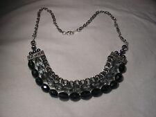 ...Silver Tone,3-Strand Faceted Crystal Beads Necklace...