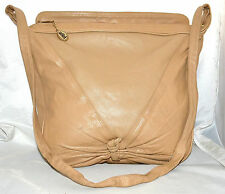 Albi Beige Soft Leather Shoulder Bag with Gathered Knotted Front Bottom
