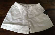 NWT Women's White CALVIN KLEIN Knit Waist Linen Shorts Size Medium M