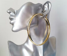 Gorgeous HUGE & shiny plain gold tone wide hoop earrings, 9.5cm BIG hoops! * NEW