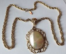 VINTAGE WHITING AND DAVIS SIGNED MOTHER OF PEARL PENDANT NECKLACE