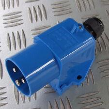 16a Azul 230v superficie en ángulo de entrada Plug Macho Camper Horsebox Remolque de barco 16 Amp
