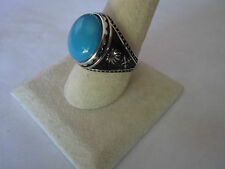 Islamic Sterling Silver Ring Rond Turquoise  925 for men islamic symbol sz 10