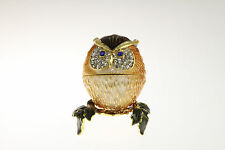 OWL TRINKET BOX ~ ENAMELED PEWTER WITH SWAROVSKI CRYSTALS ~ JEWELED BOX #J5002