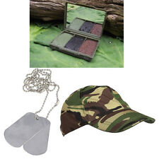 Kids Military Outdoor Camping Accessories BCB Camo Face Paint DPM Cap + Dog Tags
