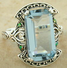 VICTORIAN .925 STERLING SILVER ANTIQUE STYLE SIM AQUAMARINE RING SIZE 5,    #821