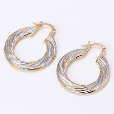 Nice New High End Elegant Two Tone 14K Yellow & White Gold Filled Hoop Earrings