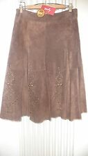 DERHY PANTALOON CHAMELEON NEW BROWN SUEDE SKIRT WITH STUDDED PATTERN SIZE M