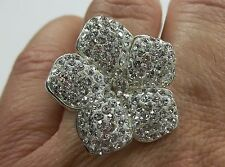 925 STERLING SILVER BOLD STATEMENT CRYSTAL LARGE FLOWER RING SIZE 8