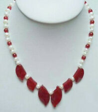 Genuine White Pearl Red Jade leaf WGP Plated Pendant Necklace