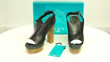 NEW Marni X H&M womens black leather 70s style platform shoes sandals UK 5 EU38