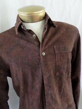 POLO RALPH LAUREN genuine leather brown paisley button front shirt SMALL