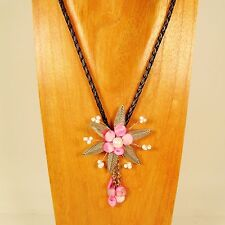"18"" Pink Shell Faux Silver Flower Handmade Seed Bead Necklace FREE SHIPPING!"