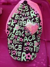 justice for girls pink/green snap back hat