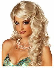 Deluxe Mermaid Costume Wig Adult Womens Wavy Long Blonde Hair - Fast Ship -