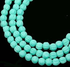 50 Czech Glass Melon Round Beads 3mm - Matte - Turquoise