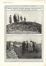 1916 WWI PRINT ~ PRINCE ARTHUR WATCHING DEPARTURE OF AIR SQUADRON PILOT BALLOON