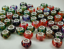 Mix 50pcs murano DIY Jewelry bead fit LAMPWORK European Charm Bracelet beads