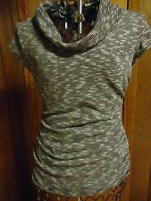 Womens Small Maurices Black/White Striped Cowl Neck Cap Sleeve Top