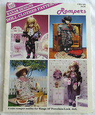 "Banar Designs Doll Clothes Sewing Patterns  Rompers for 16"" Dolls plus Project"