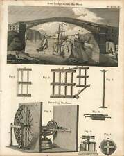1802  Iron Bridge Across The River Wear Kneading Machine Copperplate