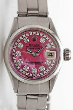 $7000 Genuine ROLEX Datejust Ladies PINK MOP Diamond Oyster SS Watch & BOX WRTY