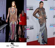 NEW $5780 ETRO RUNWAY PRINTED STRETCH DRESS GOWN w/MESH 42 - 6