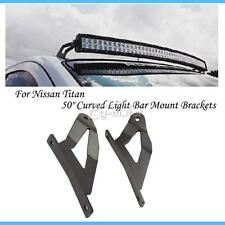 "2pcs Upper Windshield Mounts 50"" Curved Light Bar for 04-14 Nissan Titan 10 11"