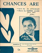 JOHNNY MATHIS - CHANCES ARE - SHEET MUSIC - AUSTRALIA 1957