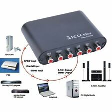 AC3/DTS Digital Optical Audio To 5.1/2.1 Channel Stereo Analog RCA Converter SM
