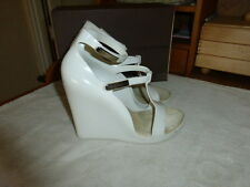 "LOUIS VUITTON WEDGES SANDALS WHITE VELCRO MULES SIZE US 8 SLIP ON 10"" LONG"