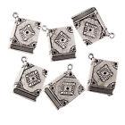 Book Tibetan Silver Bead charms Pendants fit bracelet,4pcs 23x19mm