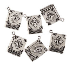 Book Tibetan Silver Bead charms Pendants fit bracelet,4pcs 23x19mm!