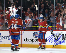 GALLAGHER & PLEKANEC Celebrate GOAL vs Bruins 2014 Playoffs AUTO 8x10 CANADIENS