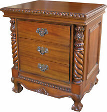 Solid Mahogany 3 drawer Chippendale Bedside Table Cabinet H62 x W58 x D45 cm NEW