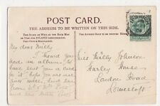 Miss Milly Johnson, Harley House, London Road, Lowestoft 1904 Postcard, B276