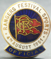 RANGERS FC OFFICAL Very rare 1951 FESTIVAL SPORTS Badge Button hole 26mm x 30mm