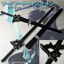 New Version Sword Art Online Kirito Black Elucidator Steel Metal Sword, Scabbard