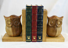 Owl Bookends Hand Carved Handcrafted Solid Wood Superb Quality Gift