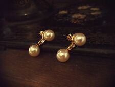 Vintage 10mm Pearl & Crystal Drop Pierced Earrings. Lovely Quality